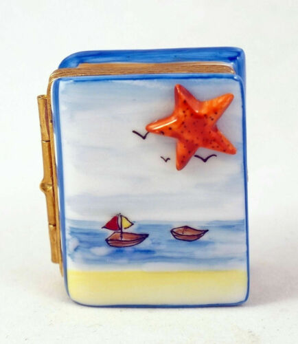 New French Limoges Trinket Box Summer Travel Book w Boat Sailboat and Star Fish