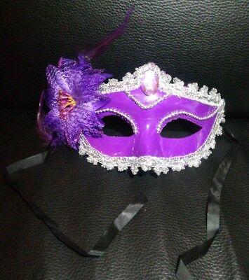Venezianische Maske Karneval Maskenball Edel Fasching Kostüm Gesichtsmaske lila-