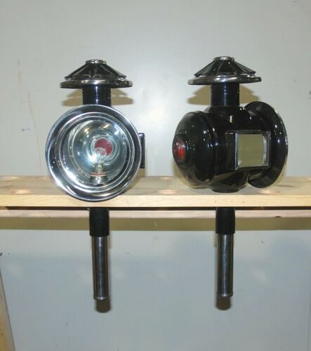 Pair of new horse drawn 12 volt carriage lamps STAINLESS  trim full size ROUND