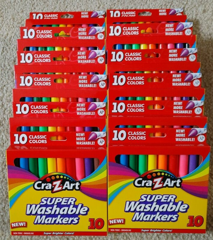 (120) Super Washable Markers Cra-Z-Art Classic Colors (12 x 10 ct) Bulk Lot