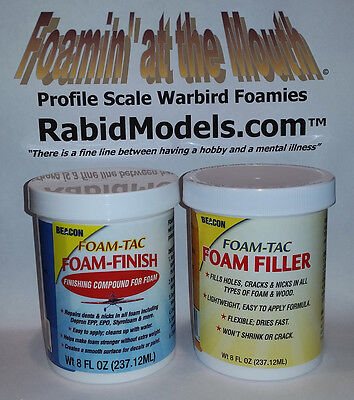 BEACON FOAM-FINISH & FOAM FILLER SET - TWO 8 oz jars - FOAM SAFE, flexible, (Matte Finish 8 Oz Jar)