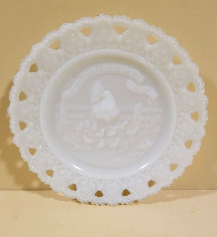 The Little Hen Said She Would and She Did Milk Glass Plate 1900s