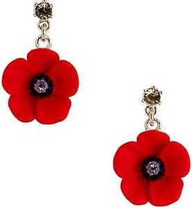 Poppy, 5 Petal  Enamel  Drop Earrings With Swarovski Crystal – 27mm  E4809