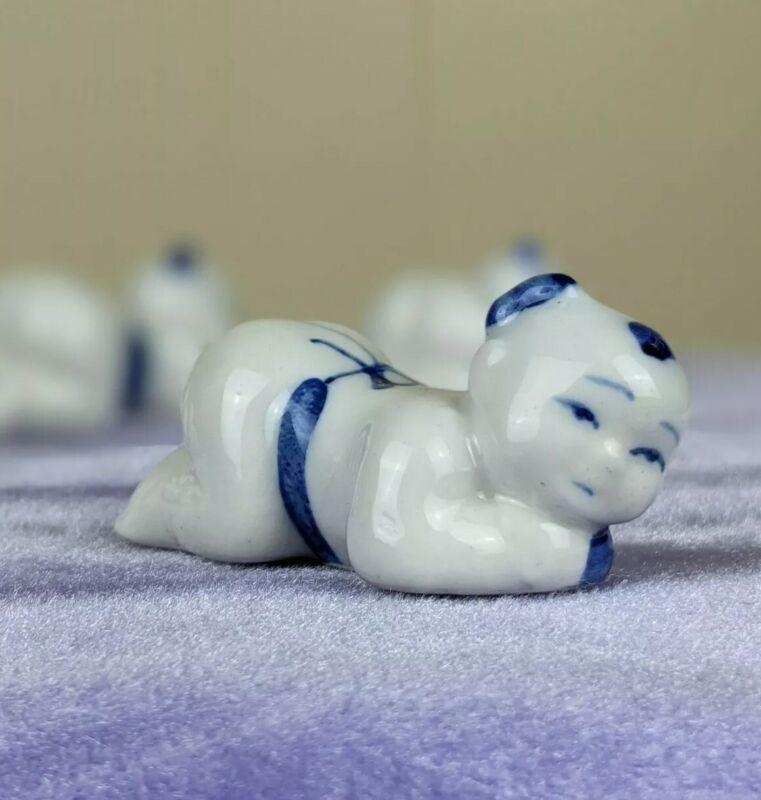 Vintage Chopstick Rest Baby Blue and White Porcelain Hashioki Set of 6