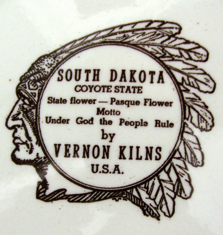 Vintage Sepia Brown SOUTH DAKOTA Collectors Plate Vernon Kilns Calif Pottery