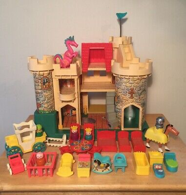 Vintage 1970's Fisher Price Little People Play Family Castle With Extras!