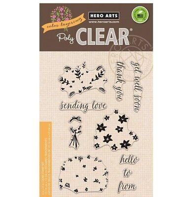 Color Layering Flower Bouquet Clear Acrylic Stamp Set by Hero Arts CL943 NEW! ()