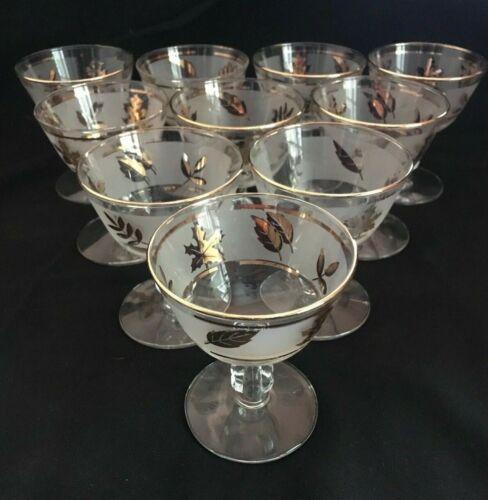 Vintage Retro Libbey Frosted Gold Leaf Parfait Wines Glasses - Set of 10