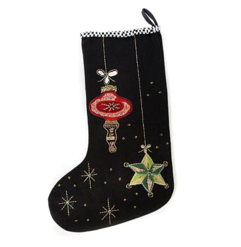 MACKENZIE-CHILDS BEDFORD FALLS ORNAMENTS Christmas Stocking NEW Black Gold $75
