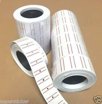 5000 Tags Labels Refill For Motex Mx-5500 One Line Price Gun White W Red Line