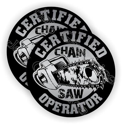 2 Chainsaw Operator Hard Hat Stickers Funny Helmet Decals Chain Saw Blade