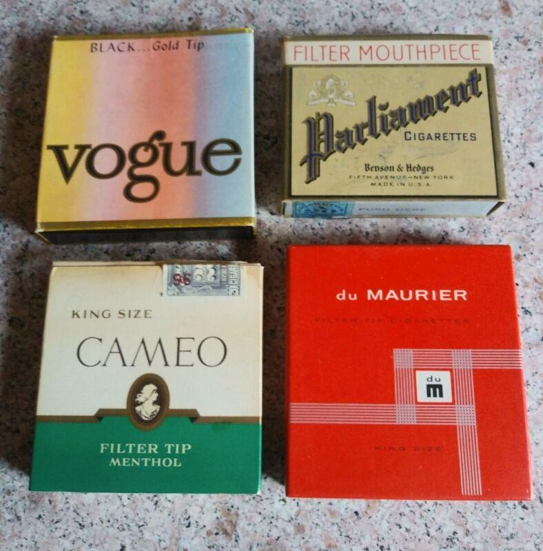 Lot Of 4 Vintage Cigarette Boxes LOOK! Empty Vogue Cameo Parliament du Maurier