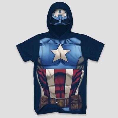 NEW Marvel Captain America Men's Short Sleeve Hooded Graphic T-Shirt Fun Costume (Captain America Costume Shirt)