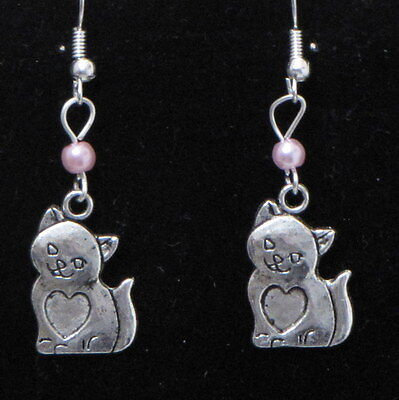 Cat / Kitten Dangling Earrings (C2) - You pick the Bead color..