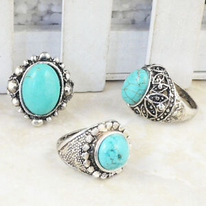 Wholesale Lot 5pcs Vintage Look Tibet Silver Alloy Assorted Turquoise Rings