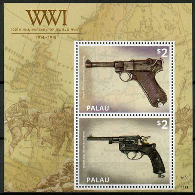 Palau 2014 MNH WWI WW1 100th Anniv World War I Guns Weapons Luger 1v S/S Stamps
