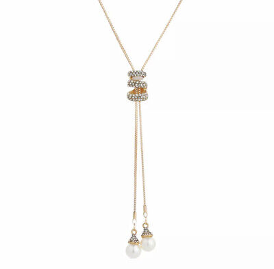 Nataliya Gold Adjustable long sweater chain crystal pearl necklace for women