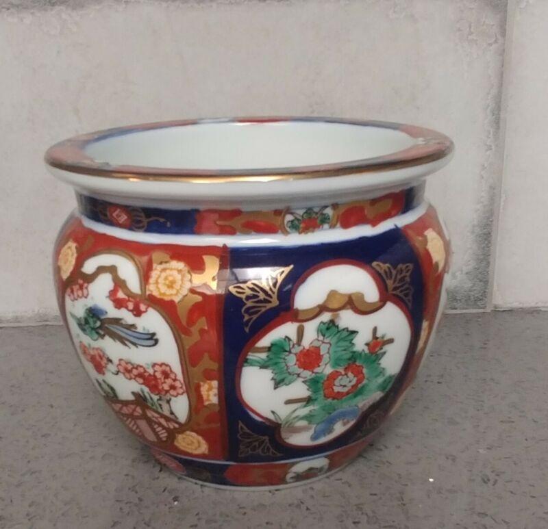 Vintage Mid Century Gold Imari Japan Hand-Painted Porcelain Planter EXCELLENT