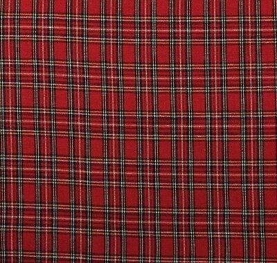 Ballard Designs Holiday Christmas Plaid Red Tartan Multiuse Fabric By Yard 56 W