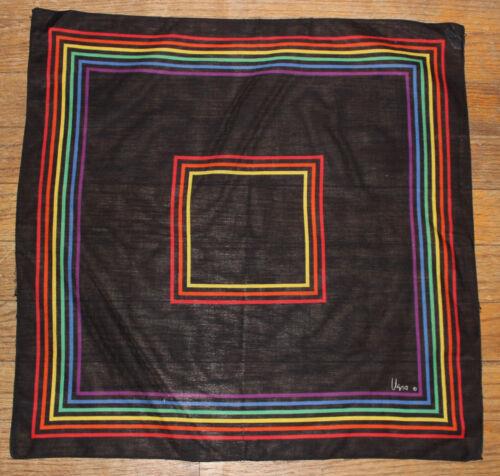 Vera Neumann vintage black RAINBOW cotton scarf