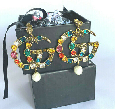 GUCCI Crystal Interlocking Double G Multicolored Antique Gold Finish Earrings