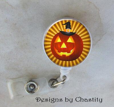 Halloween Punpkin Badge Reel Retractable Holder Belt Clip ID RN Nurse - Halloween Badge Reels