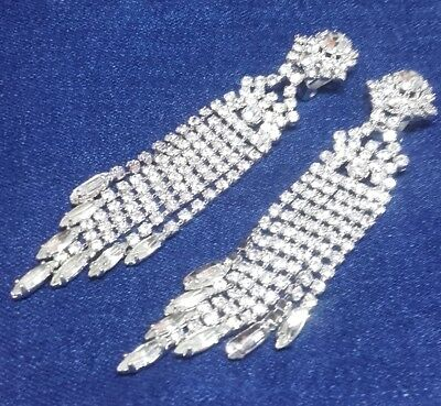 Vintage 1950s - Clip on Diamante Chandelier Drop Earrings - Bridal Wedding Prom