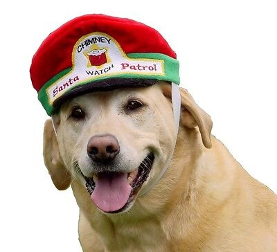 Chimney Watch Santa Patrol Brimmed Holiday Hat Costume for Dogs UNIQUE - Unique Dog Costume