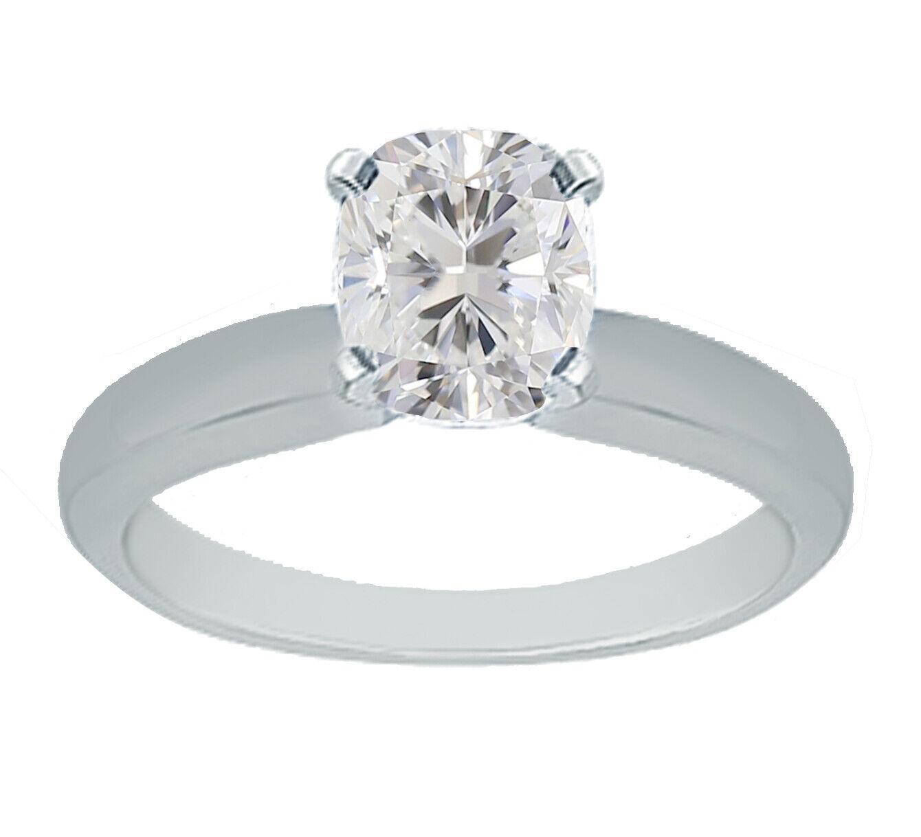 GIA Certified Diamond Engagement Ring 14k White Gold 0.70 carat Natural Cushion