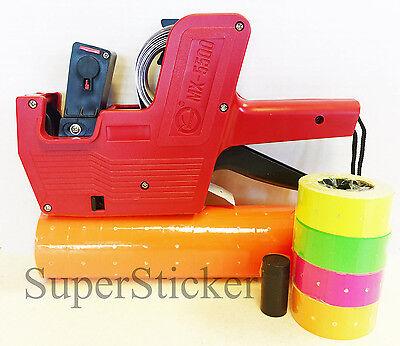 MX-5500 8 Digits Price Tag Gun Labeler Labeller + 5000 ORANGE labels + Free Gift