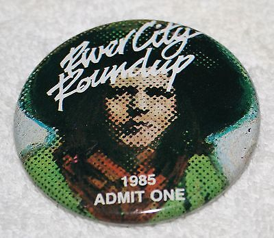 1985 Omaha AKSARBEN River City Roundup RCR Pin Pinback ADMIT ONE Cowboy Rodeo