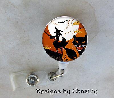 Artistic Halloween Badge Reel Retractable Holder Belt Clip RN Nurse Cat Witch](Halloween Badge Reels)