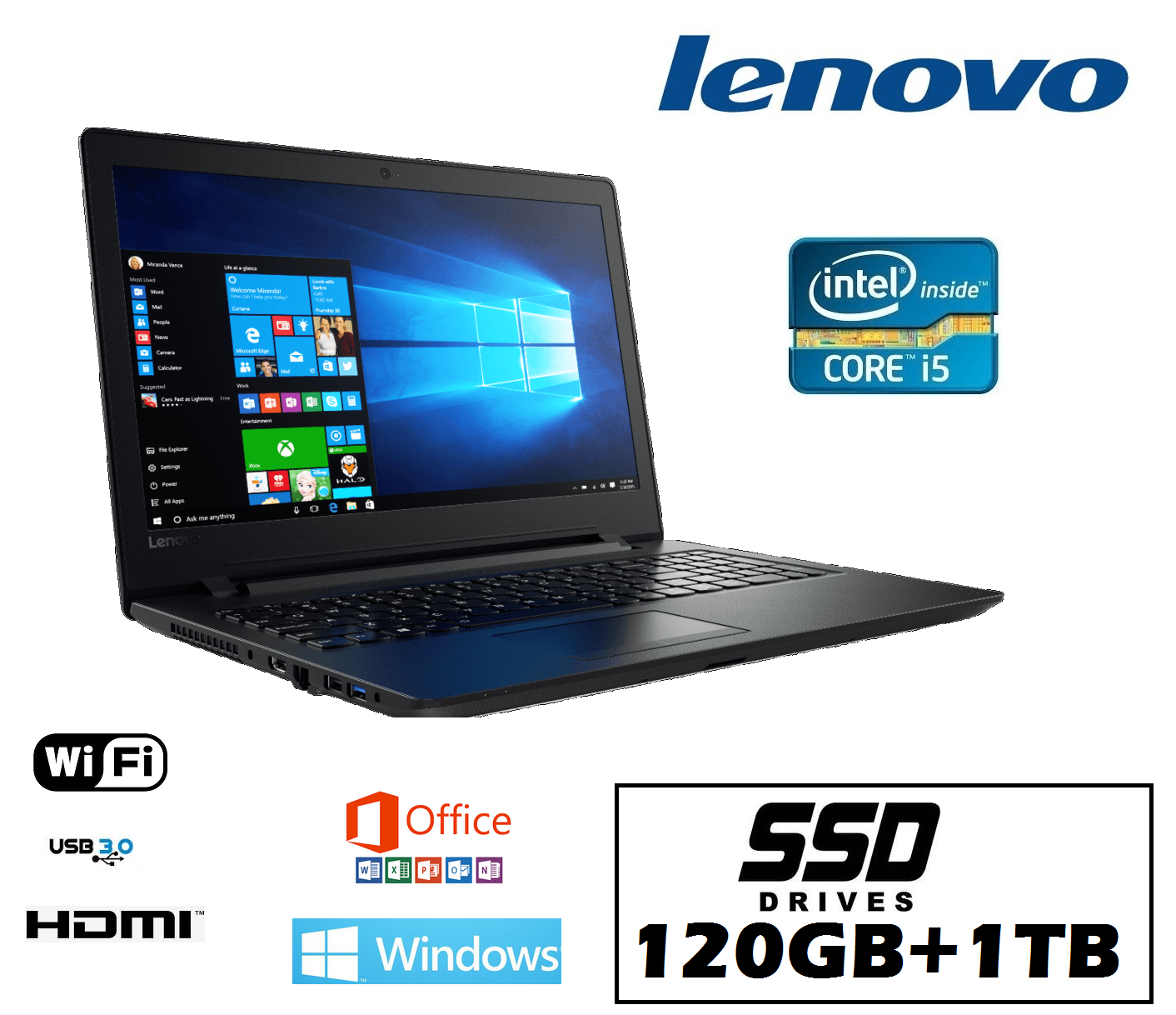 ordenador ultrabook LENOVO INTEL i5 120ssd + 1tb WINDOWS10 PROFESIONAL OFFICE
