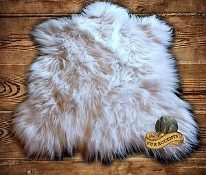 fur accents shaggy white faux fur bear skin accent throw rug. Black Bedroom Furniture Sets. Home Design Ideas