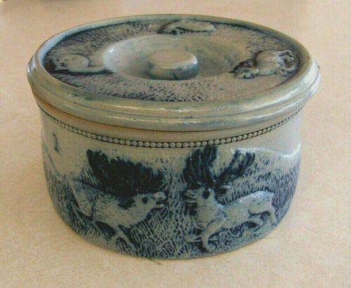 Antique Whites Utica Stoneware Pottery Crock #1 with Lid Deer Hunt Scene