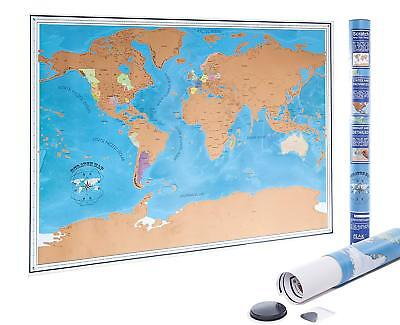 Scratch Off World Map Poster with US States and Country Flags - FAST SHIPPING!!!