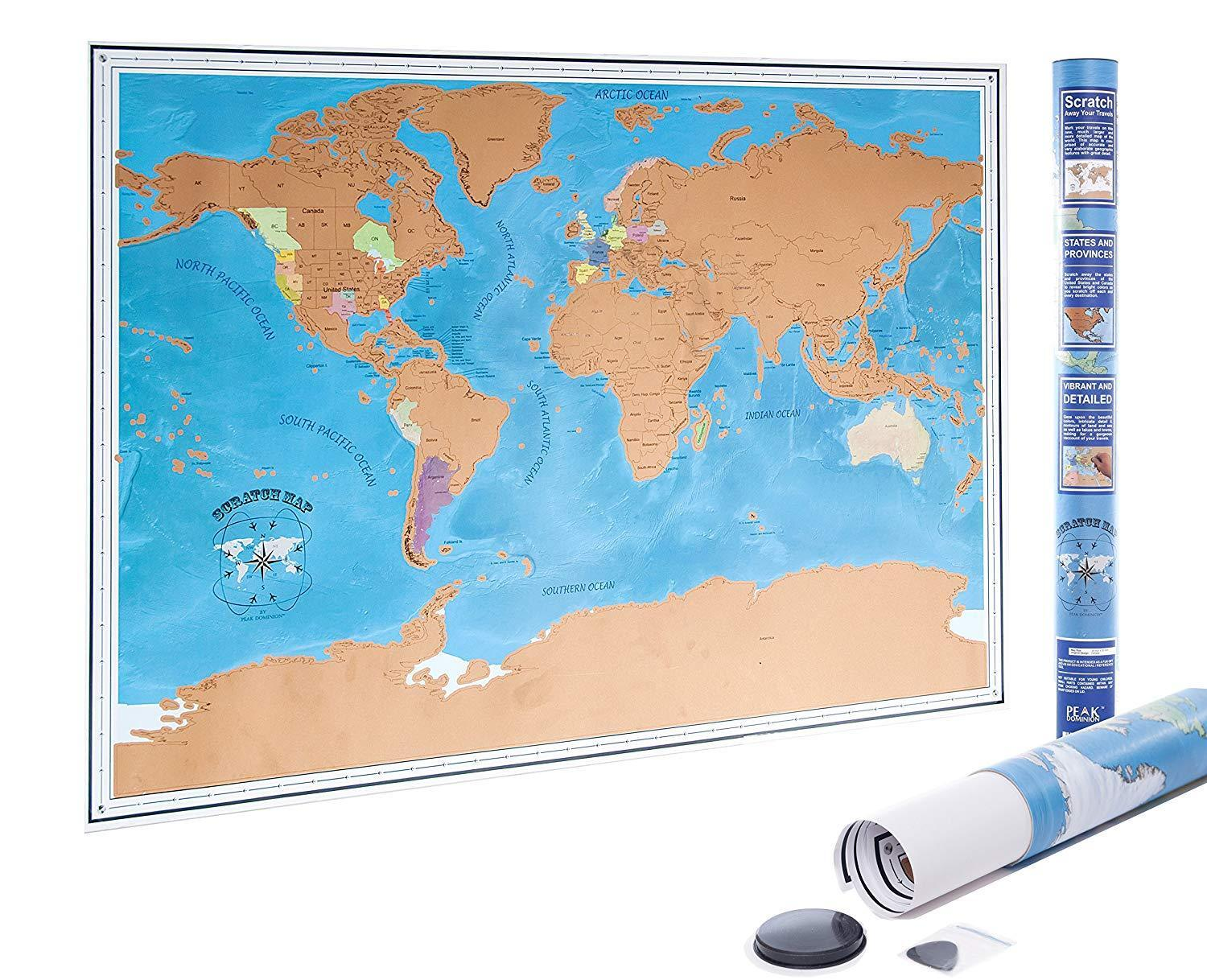 Scratch Off World Map Poster With Us States And Country Flags Fast - Us-map-poster