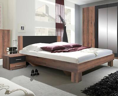 Schlafzimmer Set Bett 160x200cm monastery eiche / schwarz Nachttisch 54205 - Schlafzimmer Eiche Tisch
