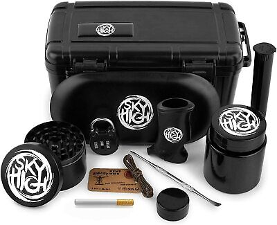 11 Piece Stash Box Combo Kit with Lock, Grinder, Tray, Lighter Holder & More