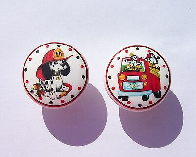 2  FIRE TRUCK WITH DOGS DALMATION KIDS BOYS DRESSER DRAWER KNOBS MADE AS ORDERED - Fire Truck Drawer Knob