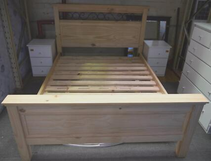 New Solid Natural Timber Queen Size Bedroom Bed Frame Base Richmond Yarra Area Preview