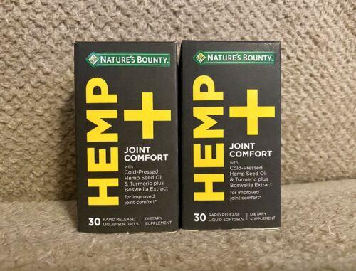 Nature's Bounty Hemp + Joint Comfort, 30 Rapid Release Soft-gels, Lot Of 2