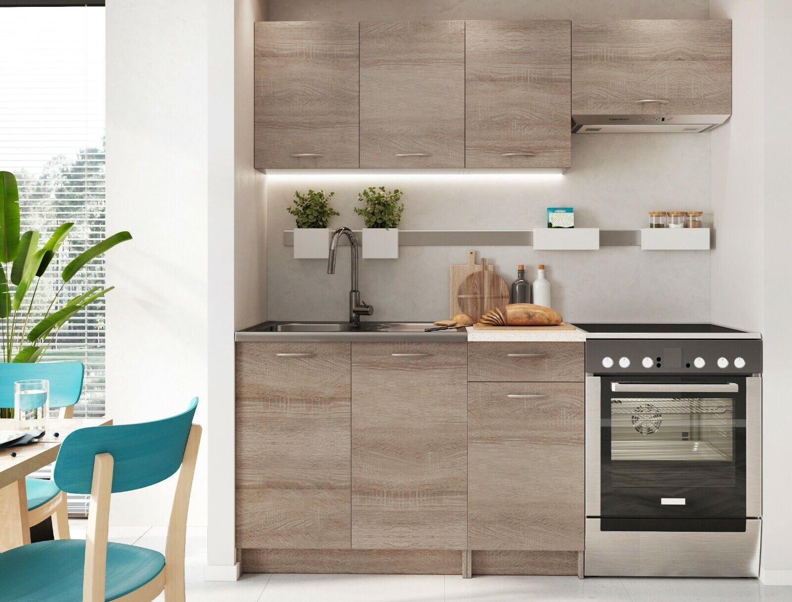 Details About Modern Kitchen 5 Units Cabinets Set Dark Oak Cupboard Worktop Budget Cheap Small