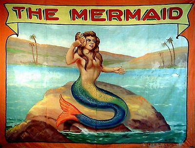 VINTAGE MERMAID CIRCUS CARNIVAL SIDESHOW CONCH SHELL *CANVAS* FANTASY ART PRINT
