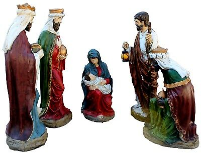 Life-Size Reinforced Plaster Nativity Outdoor Display, Set of Five
