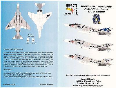 Impact Decals 48-003 VMFA-451 F-4J Phantoms