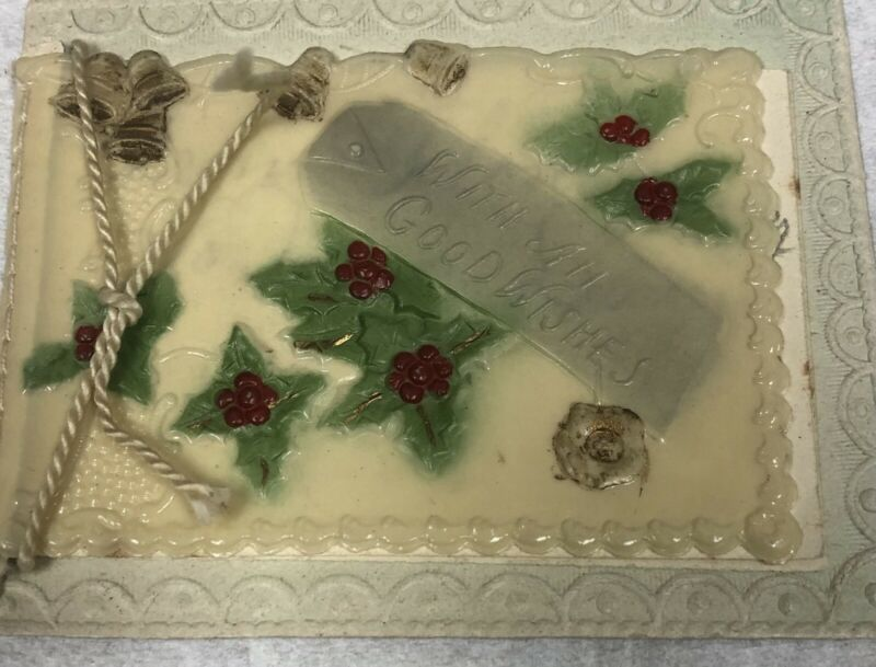 Antique Vintage Victorian Three Dimensional Celluloid Christmas Card