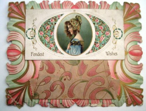 Victorian Parchment Valentine Card - Woman With Stunning Headdress *