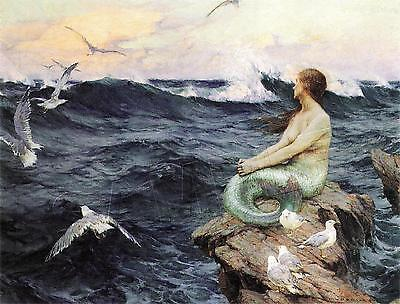 VINTAGE VICTORIAN MERMAID SEA NYMPH OCEAN SEAGULL *CANVAS* ANTIQUE ART PRINT