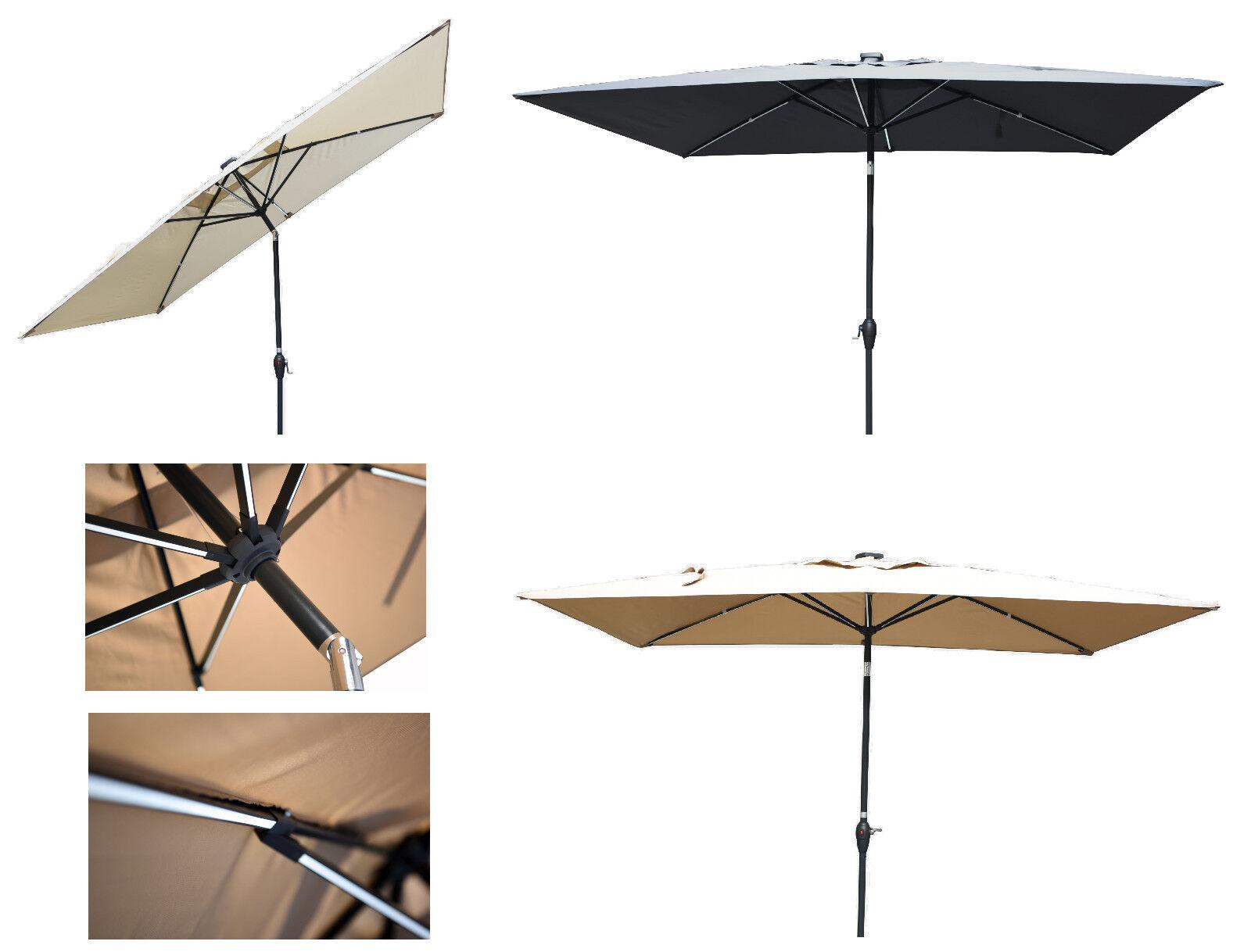 mandalika sonnenschirm 2x3m mit led beleuchtung licht leisten knickbar 200x300cm ebay. Black Bedroom Furniture Sets. Home Design Ideas